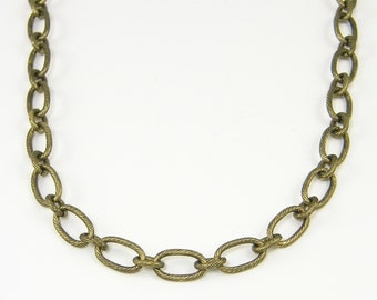 Brass Oval Chain, Oxidized Brass Necklace Chain, 26.5 to 30 Inch Brass Chain, Medium Link Chain Necklace |BC1-14