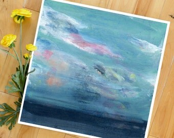Sea Art Print, Ocean, Beach, Large Print, Colorful Abstract, from original Painting, square, clouds, sky, water, Lindsay Megahed