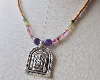 SALE Ganesh necklace with faceted natural tourmaline and aromatic sandalwood beads  / yoga necklace 18""