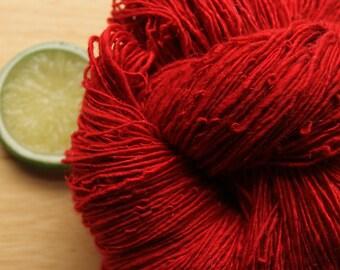 Red Velvet - Handspun Merino Bamboo Sparkle Yarn Red Fingering