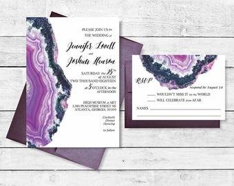 Geode Agate Crystal Invitation