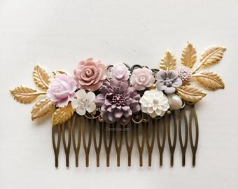 Mauve Wedding Pink Bridal Hair Comb Lilac Purple Lavender Headpiece English Rose Hair Slide Maid of Honor Bridesmaid Gift Romantic Design