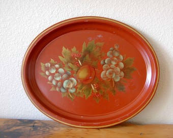 Vintage Metal Tray Vintage Floral Tole Metal Tray Vintage Painted Metal Serving Tray Vintage Oval Tray from The Eclectic Interior
