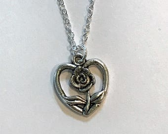Tibetan Silver Rose Heart Charm Necklace - Rose - Flower - 925 Sterling Silver or Silver Tone Chain - Romance - Gifts - Red - Love