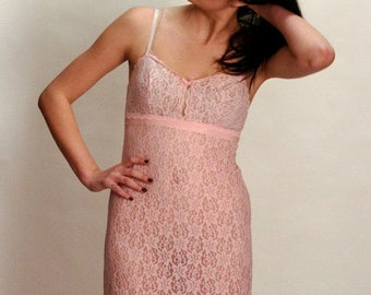 ON SALE 20% off vintage Pink lace full Slip circa 1960s 1970s St Michaels lace illusion Valentines Day Gifts for Her