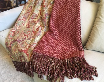 Paisley Throw Blanket Rich Luxurious Red Scroll, Decorator Throw Designer Bedding Lap Cover Tapestry Wall Hanging, Elegant Wedding Blanket