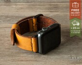 Apple Watch Band Leather Watch Bands Minimal in Honey Brown Color 42mm 38mm Series 1 and 2 [Handmade] [Custom Colors]