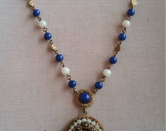 Vintage Art Deco Czech Blue Glass Necklace