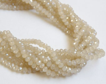 Sand Beige Taupe faceted rondelles 3x2mm full strand crystal PJ047-F03-1