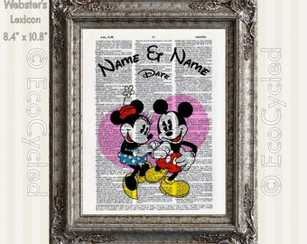 Classic Mickey Mouse & Minnie Mouse 2 with Names and Date on Vintage Upcycled Dictionary Art Print Book Anniversary Wedding Romance Custom