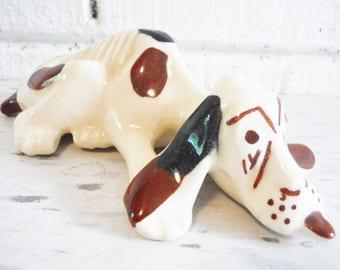 Sad Hound dog figurine, primitive dog, rustic dog, vintage dog figurine,brown and white dog, unusual dog , pottery dog