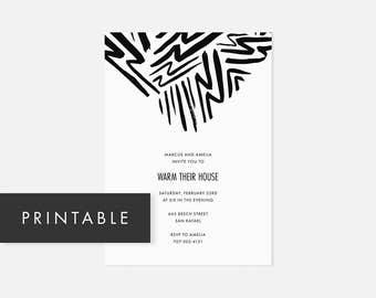 Minimalist Invitation Printable / Modern DIY Invite / Bold Pattern / Black and White / Housewarming, Birthday, Graduation, Bridal Shower