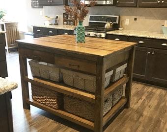 Solid wood kitchen island restoration hardware inspired