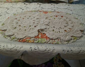2 Crochet Scolloped Edge Flowered Doilies