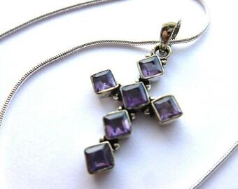 STERLING AMETHYST Cross, 925 Sterling Silver Amethyst Cross Pendant, Feminine Gemstone Vintage Cross , Amethyst Necklace, Christian Gift