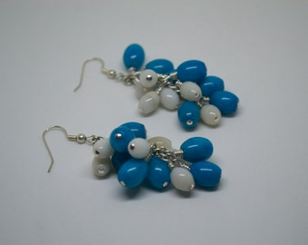 Turquoise blue and white Jade gemstone cluster bead earrings - gift for her