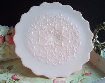 Fenton Spanish Lace Pink Milk Glass Cake Stand - Wedding Cake Stand - Pink Milk Glass - Fenton Pink Cake Stand - Vintage Wedding - Wedding