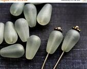 ON SALE Glass beads - Matte light Grey teardrops, czech glass, pear - 13x7mm - 15Pc - 2492