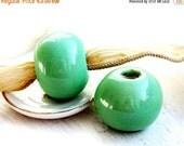 30%OFF SALE Extra Large ceramic beads -  Spring Green - greek ceramic, organic round, enamel coating, 20mm - 2pc - F053