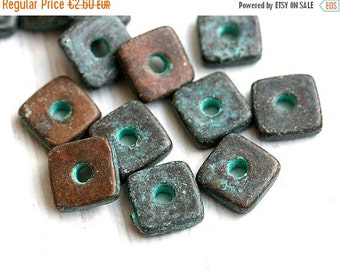 30%OFF SALE Green Patina ceramic beads, Square spacers, greek ceramic metalized beads, 8mm - 15pc - 0730