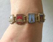 Vintage 50s Bracelet Enamel Bracelet On Gilt Metal Paris Monuments Souvenir Jewelry