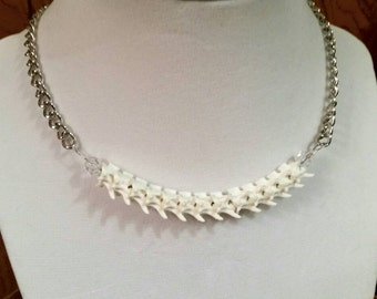 Rattlesnake Vertebrae Choker Necklace on Siler Chain