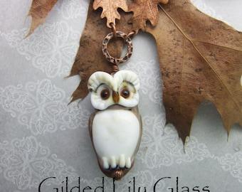 Mocha Brown Owl Pendant, torchwork glass jewelry handcrafted in North Carolina