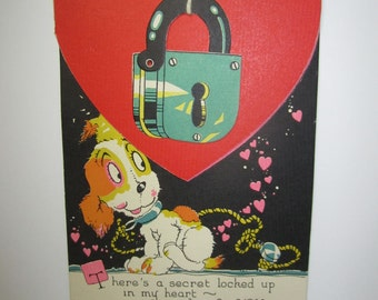 Fantastic art deco die cut unused novelty valentine card little dog and red heart with a die cut padlock take off lock to open red heart