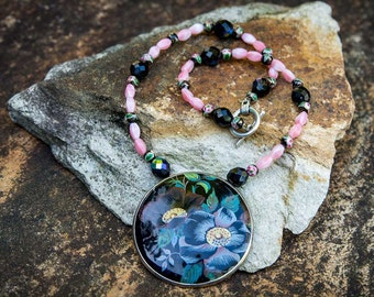 CLOISONNE LOTUS PINK and Black Pin and Necklace