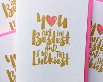 Thank You Card, Card for Boyfriend, Card for Husband, Thank You Husband, You are the Bestest and I am the Luckiest Card - DeLuce Design