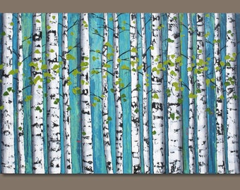 FREE SHIP large abstract painting, birch trees forest, blue green, birch tree painting, landscape painting, wall art on canvas, 24x36