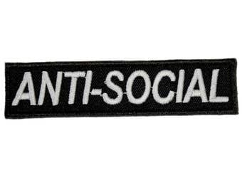 Anti-Social Iron On Patch Embroidery Sewing DIY Customise Denim Cotton Aesthetic Tumblr Teen Monochrome