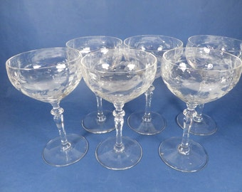 Vintage Champagne Glasses Sherbets - Set of 6 Vintage Champagne Coupes