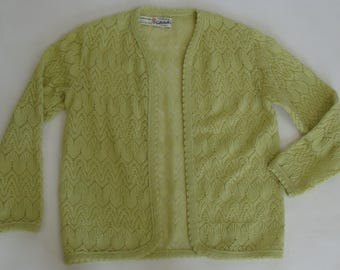 GOTTSCHALKS GRANNY CARDIGAN pointelle knit sweater lemon lime M L
