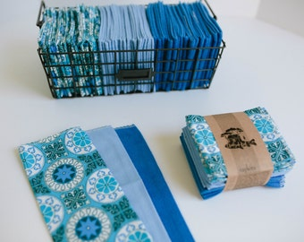 """Unpaper Towels Cloth Napkins 12 Flannel Tissues  - Choose your size (8""""x 8"""" or 10"""" x 12"""")  - 1 PLY -  Blue Mix"""