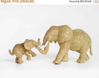 Mama and Baby Elephant Set for Safari Baby Showers, Jungle Gold Glitters Critter. New Mom Nursery Decor, Birthday Party Table Decor Keepsake