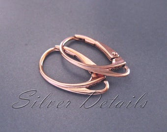 Rose Gold Vermeil Best Quality Euro Lever-backs Ear Hooks Sterling Silver 925 Bestseller earring finding reference code L1R