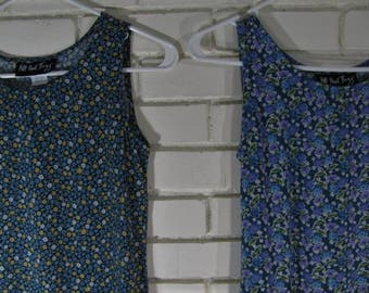 2 90's blue floral rayon dresses girl's size 16 or woman's S