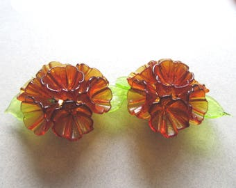 GORGEOUS Hand Blown Amber Art Glass Flower and Leaves Earrings Clipons Clip Ons Summer Vintage Costume Jewelry Mad Men