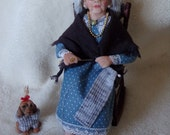 ON SALE    !!!!!!!!!!!!    Ooak miniature knitting granny doll for Dollhouse 1:12 scale