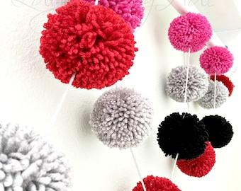 Pom Pom Garland - Yarn - Hot Pink + Black + Red + Gray Mist - Valentine's Day - Christmas - Birthday Garland -  Baby - Celebration Decor