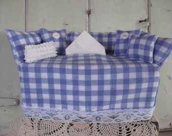 Couch Tissue Box Cover Mini Couch Blue and White Check White Lace Chenille Pillow Buttons Home Decor Kleenex Box Cover Bathroom Bedroom