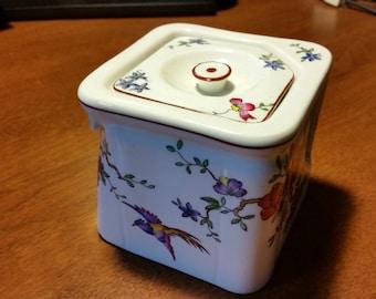 RARE Souvenir 1920s CUNARD STEAMSHIP Bird of Paradise Pitcher - The Cube - Tuscan