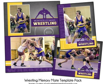 WRESTLING PACK A - Sports Memory Mate Photo Templates - Digital Files Only