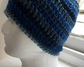 Handmade crochet beanie hat made in super soft yarn made in snowdonia  Wales