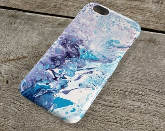 Adventure Abstract iPhone Case - Purple blue lilac & white Fluid Art iPhone Case for iP4, iP5/S/SE, iP5C, iP6/S, iP6+/S, iPod Touch 5