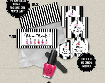 Printable Editable Mani Thanks Gift Tags Treat Bag Toppers. Bridal Shower Bachelorette Manicure Party Favor. DT1927