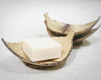 Set of 3 Leaf Coconut Shell Soap Dish