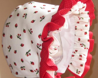 Baby Bonnet- Cherry and Strawberry- Baby Hat