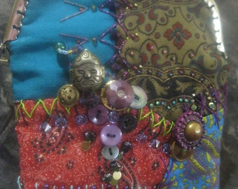 Gypsy Caravan Handmade Crazy Quilt Purse Wristlet OOAK Art Bag Up-Cycled Trim Antique  and Vintage Buttons Crystals Glass Beads